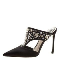 Dior Black Satin Embellished Mule Slides Size 38.5