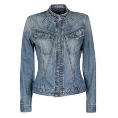 Dolce and Gabbana Blue Faded Effect Distressed Denim Jacket S