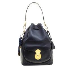 Ralph Lauren Navy Blue Leather Ricky Drawstring Bucket Bag