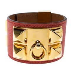 Hermès Collier de Chien Pink Epsom Leather Gold Plated Wide Cuff Bracelet
