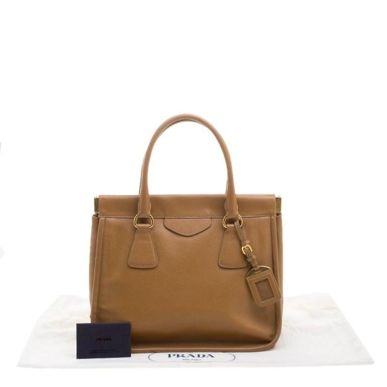 a6b007442649 Prada Caramel Saffiano Lux Leather Frame Top Handle Bag at 1stdibs