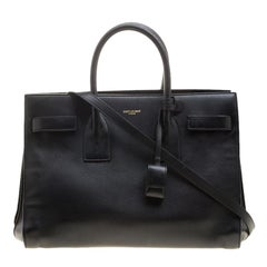 Saint Laurent Paris Black Leather Small Classic Sac De Jour Tote