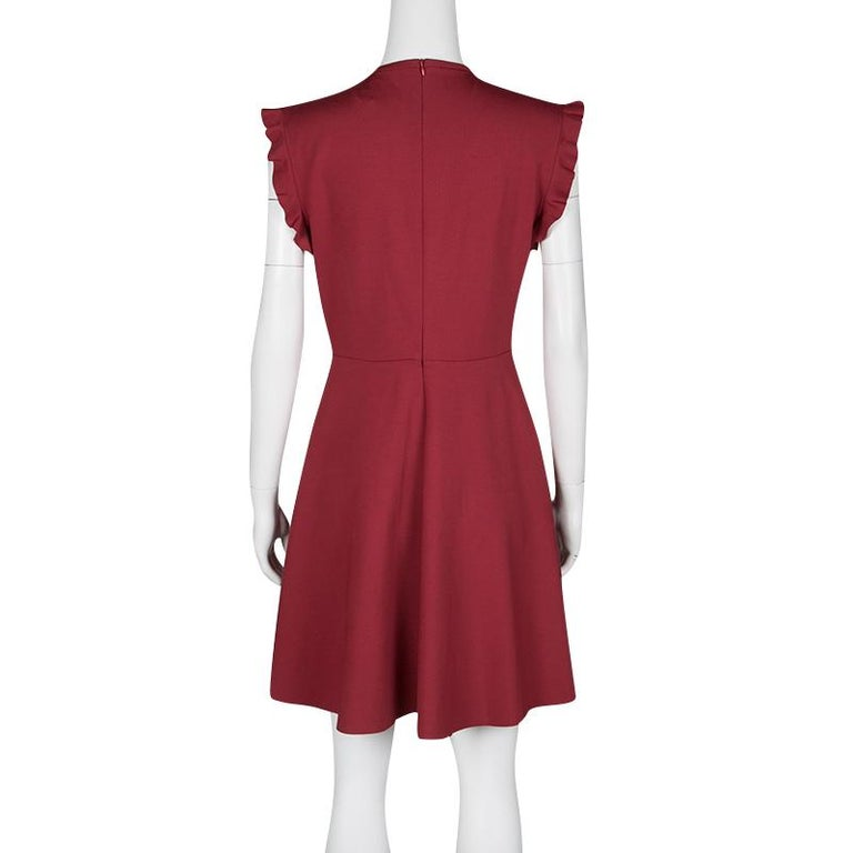 6d3f3a633b7 RED Valentino Red Jersey Ruffled Pintuck Detail Fit and Flare Mini Dress M  In Good Condition