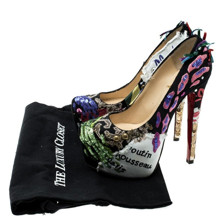 55d5d39d835e Christian Louboutin Limited Edition Daffodile Brodee Crepe Satin Pumps Size  35 For Sale 2