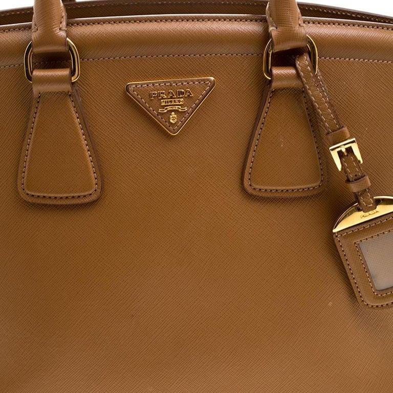 1d1506b2e220 Prada Caramel Saffiano Lux Leather Parabole Tote For Sale 6