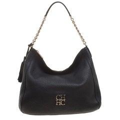Carolina Herrera Black Pebbled Leather Hobo