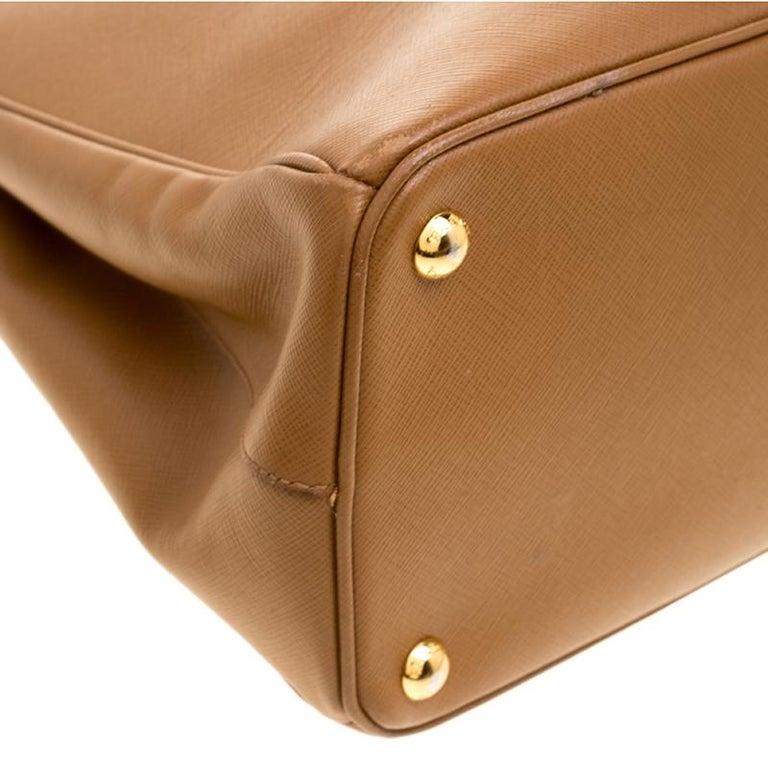 a25e09e057f2 Prada Caramel Saffiano Lux Leather Parabole Tote For Sale 2