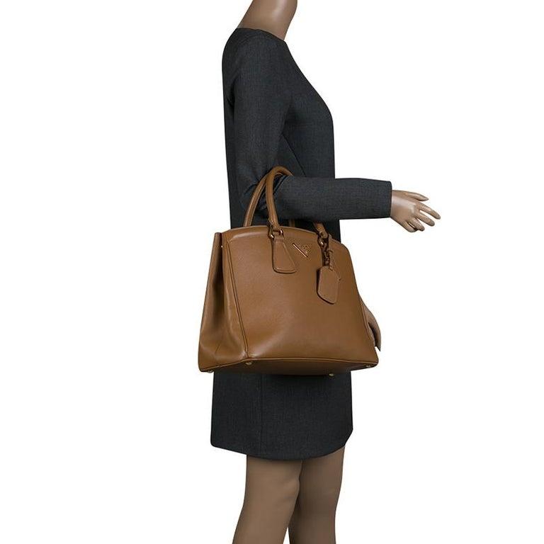232c2ecb0d71 Brown Prada Caramel Saffiano Lux Leather Parabole Tote For Sale