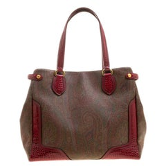 Etro Brown/Red Paisley Printed Canvas and Leather Tote