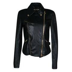 Emilio Pucci Black Lambskin Leather Textured Sleeve Detail Biker Jacket S