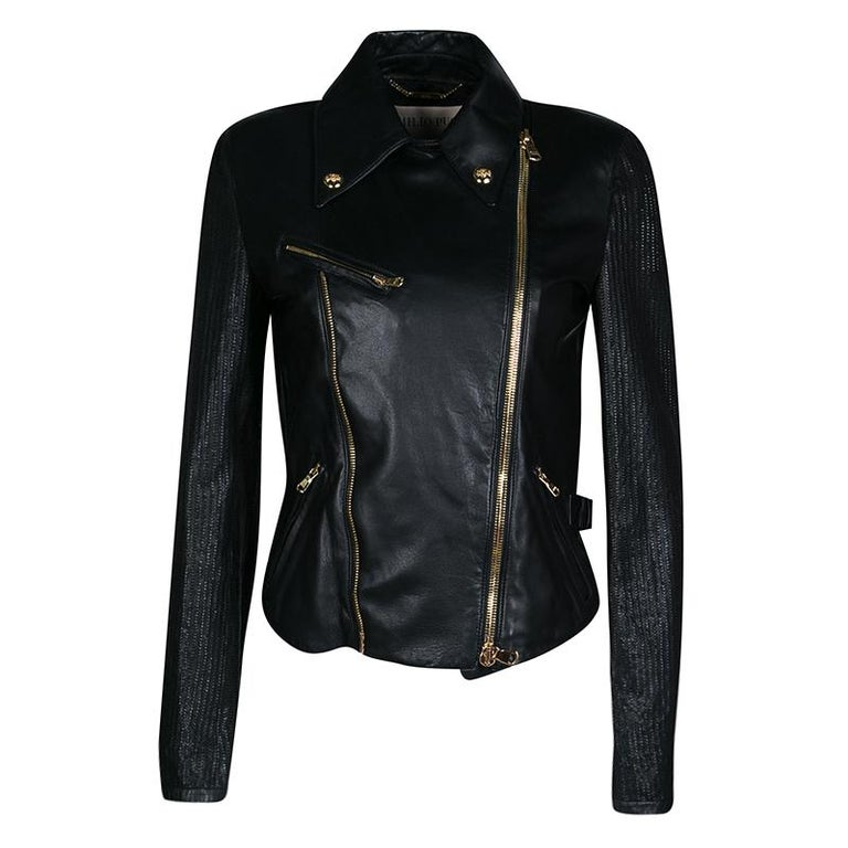 Emilio Pucci Black Lambskin Leather Textured Sleeve Detail Biker Jacket S For Sale