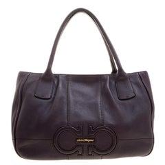 Salvatore Ferragamo Purple Leather Logo Tote