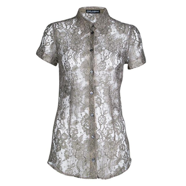 c971ed3e65878d Dolce and Gabbana Khaki Floral Lace Short Sleeve Shirt S For Sale at ...