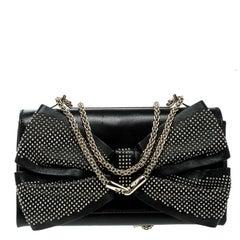 Valentino Black Leather Studded Bow Crossbody Bag