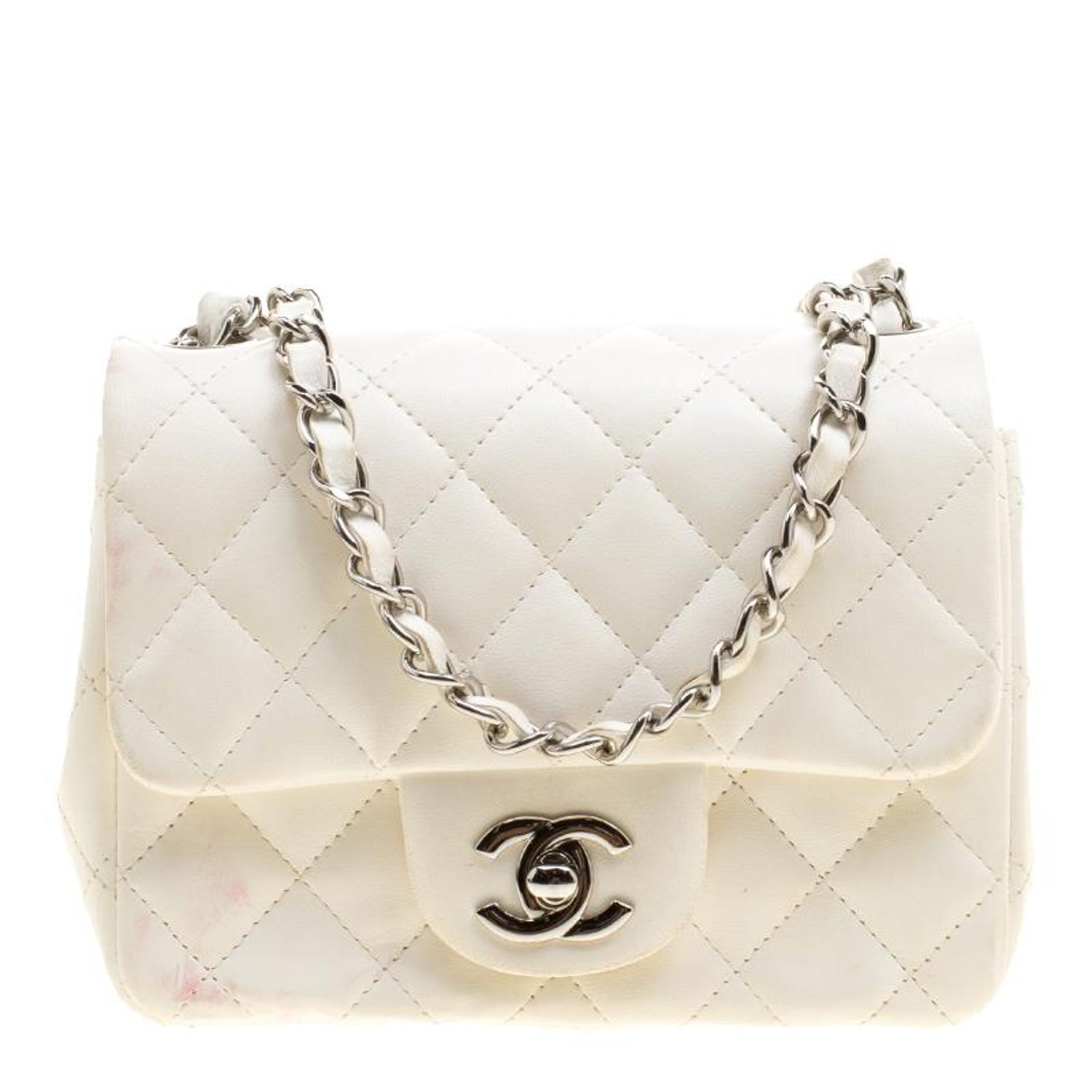 3f4c0cdc2126 Chanel White Quilted Leather Mini Classic Single Flap Bag at 1stdibs