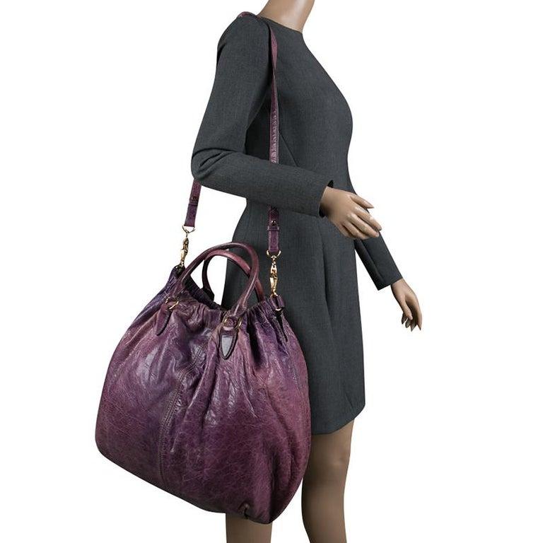 648cd8edd Gray Miu Miu Purple Distressed Leather Hobo For Sale