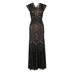 Tadashi Shoji Black and Beige Floral Embroidered Lace Maxi Dress M