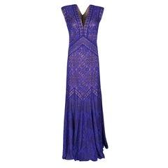 Tadashi Shoji Purple and Beige Floral Embroidered Lace Maxi Dress L
