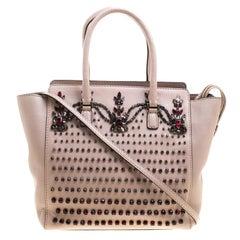 Valentino Blush Pink Leather Jewel Embellisehed Tote