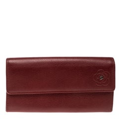Chanel Red Leather CC Camellia Continental Flap Wallet