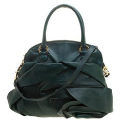 Valentino Green Leather Petale Rose Dome Satchel