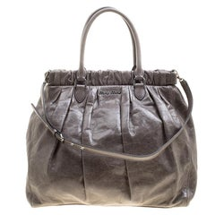 Miu Miu Grey Lux Leather Gathered Tote