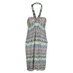 Missoni Multicolor Patterned Knit Halter Dress M