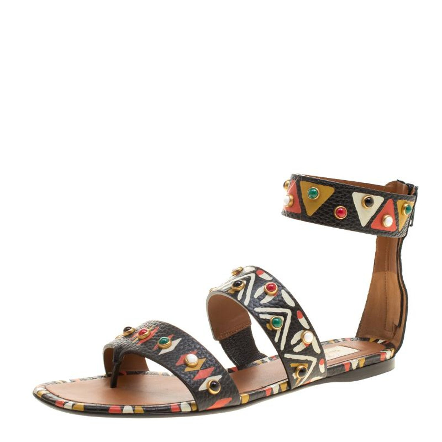 937baa465b97 Valentino Hand Painted Tribal Design Studded Leather Flat Sandals Size 37.5  at 1stdibs