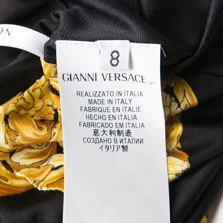 Women's Versace Collection Black and Gold Cat Print Sleeveless Draped Dress M For Sale