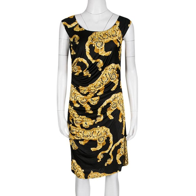 Versace Collection Black and Gold Cat Print Sleeveless Draped Dress M In Excellent Condition For Sale In Dubai, AE