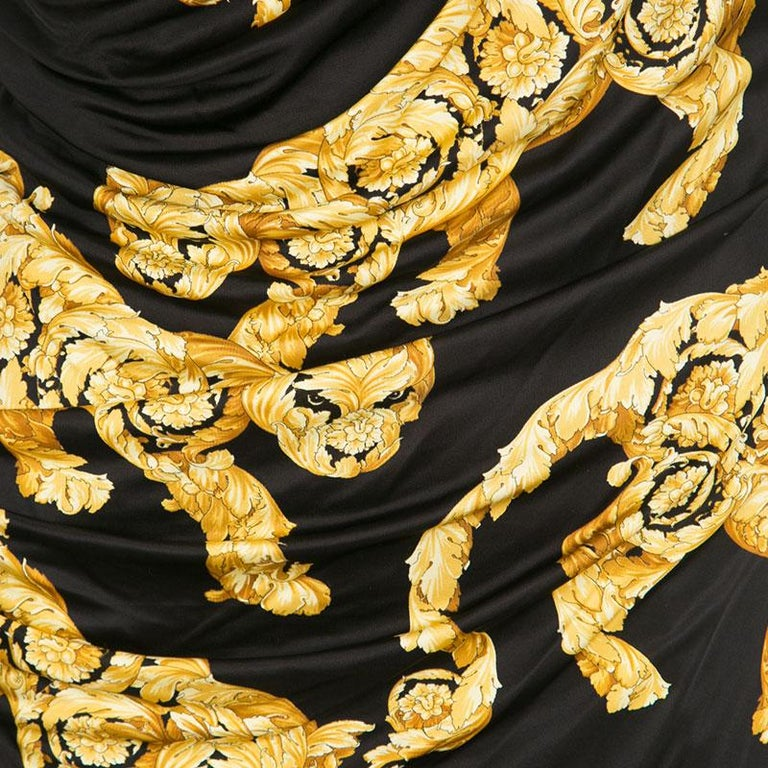 Versace Collection Black and Gold Cat Print Sleeveless Draped Dress M For Sale 3