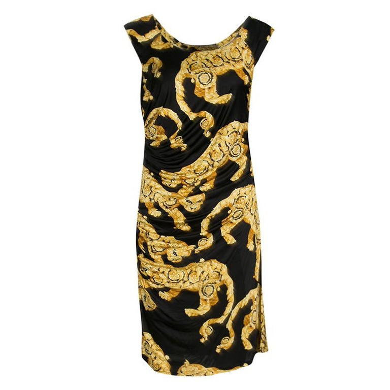 Versace Collection Black and Gold Cat Print Sleeveless Draped Dress M For Sale