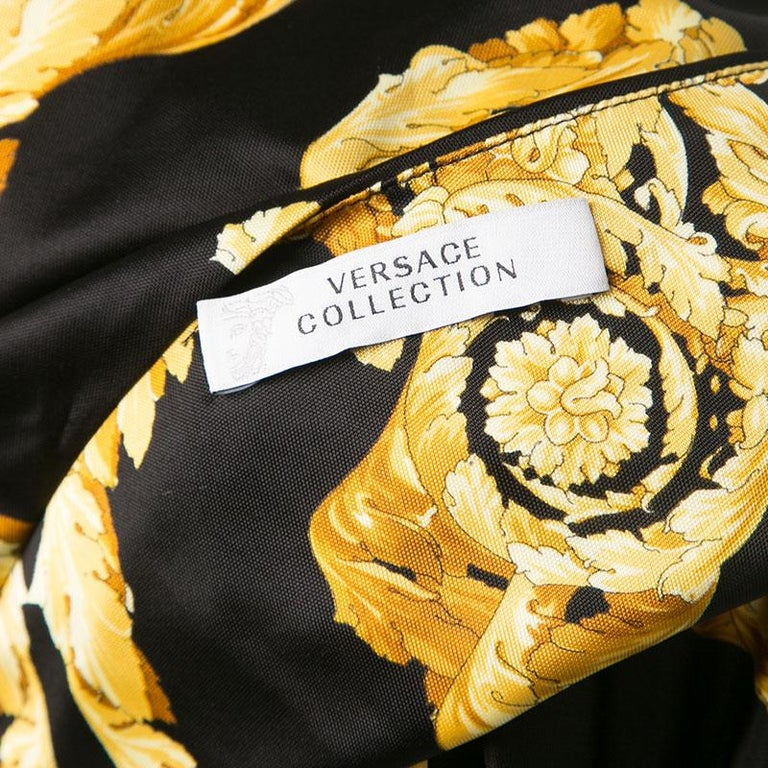 Versace Collection Black and Gold Cat Print Sleeveless Draped Dress M For Sale 1