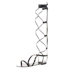 Valentino Black Leather Knee High Rockstud Gladiator Flat Sandals Size 40