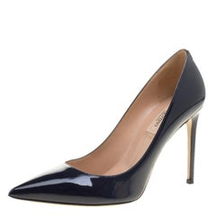 Valentino Blue Patent Leather Pointed Toe Pumps Size 37