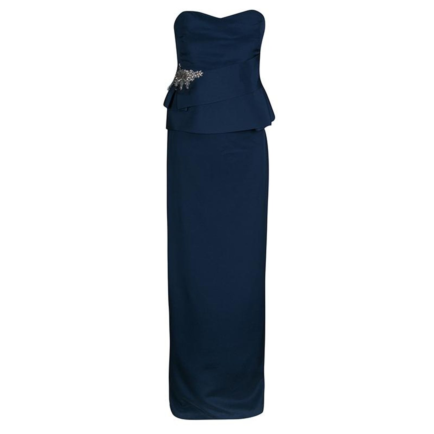 7238f473de1 Notte by Marchesa Navy Blue Silk Embellished Strapless Peplum Gown L For  Sale at 1stdibs
