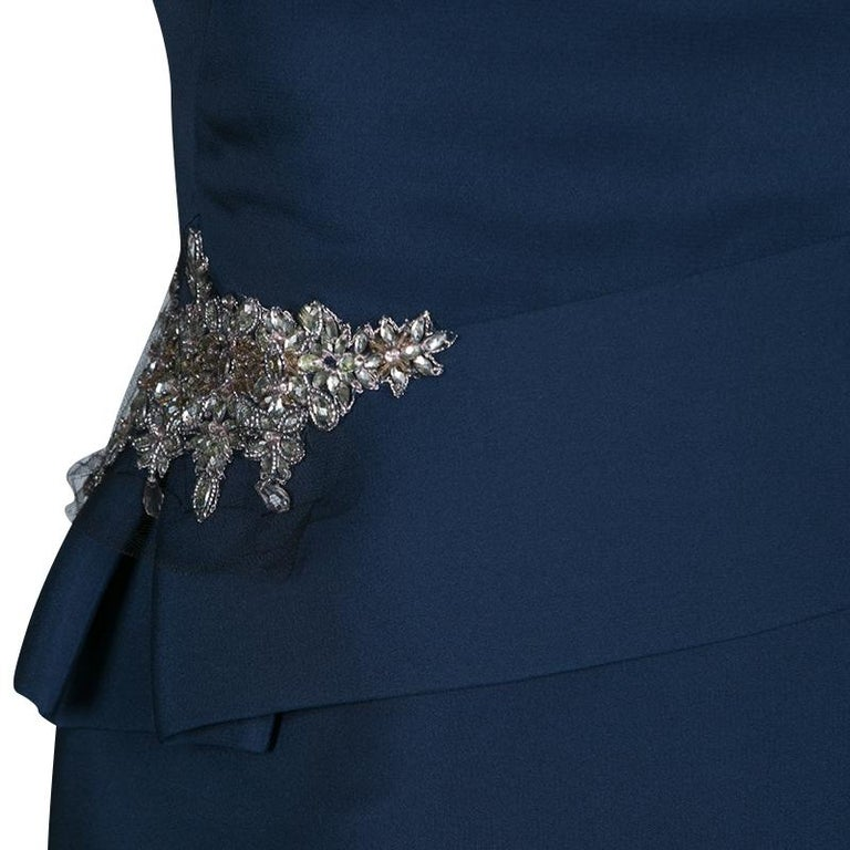 27a99ec9 Notte by Marchesa Navy Blue Silk Embellished Strapless Peplum Gown L For  Sale 1