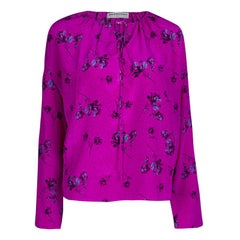 Balenciaga Fuschia Floral Printed Dotted Silk Long Sleeve Blouse M