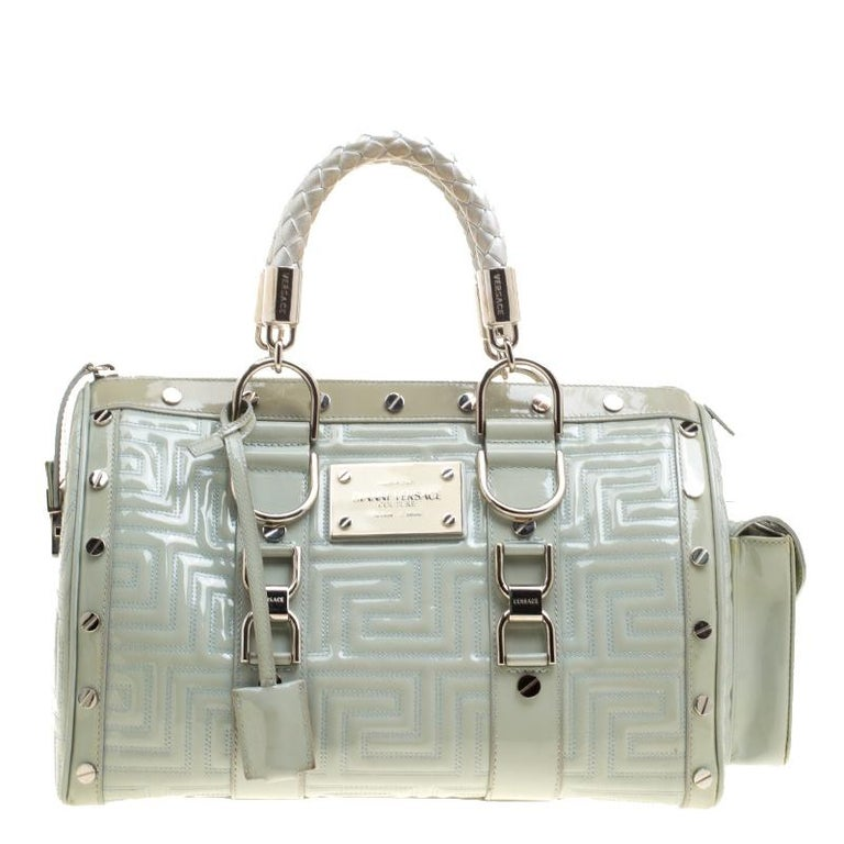 ffdf6833d6 Versace Mint Green Quilted Patent Leather Snap Out Of It Satchel at ...