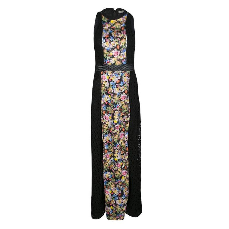 Mary Katrantzou Black Cotton Eyelet Embroidered Floral Printed Alyss Dress M For Sale