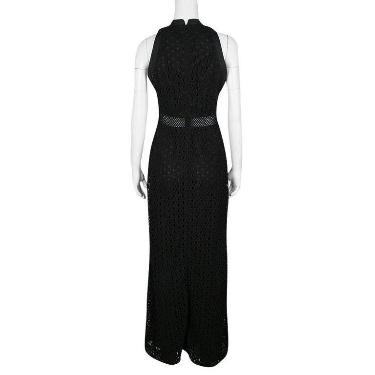 Mary Katrantzou Black Cotton Eyelet Embroidered Floral Printed Alyss Dress M In Good Condition For Sale In Dubai, AE