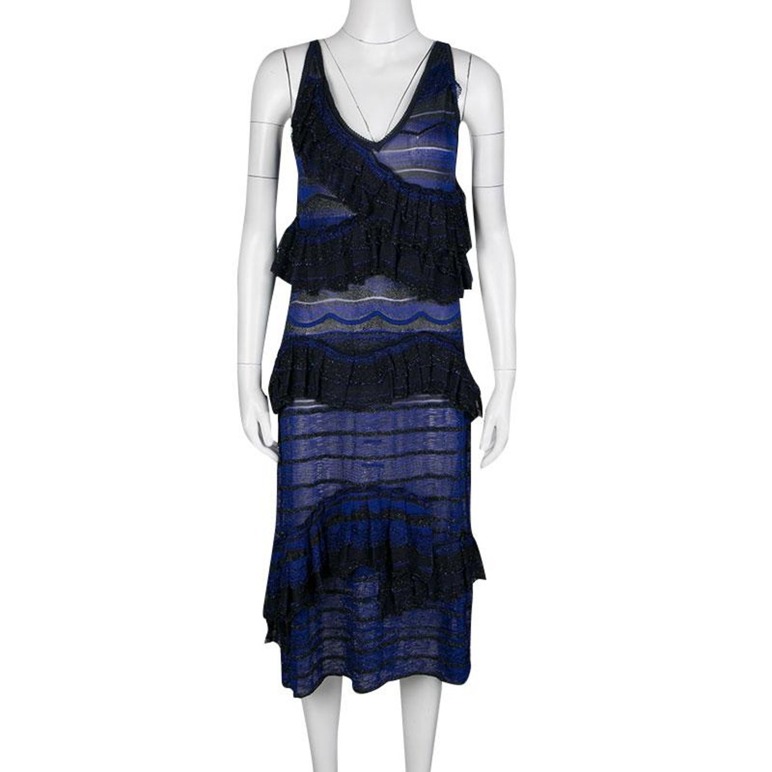 b66452e643e Missoni Blue and Black Lurex Knit Ruffled Sleeveless Dress M For Sale at  1stdibs