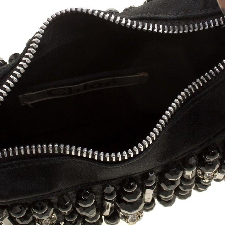 Women's Chloe Black Satin Beads Embellished Hobo For Sale