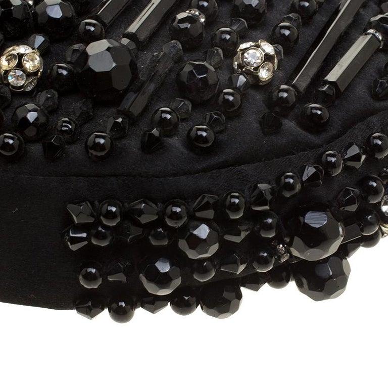 Chloe Black Satin Beads Embellished Hobo For Sale 4