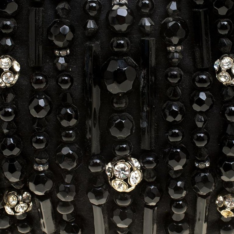 Chloe Black Satin Beads Embellished Hobo For Sale 5