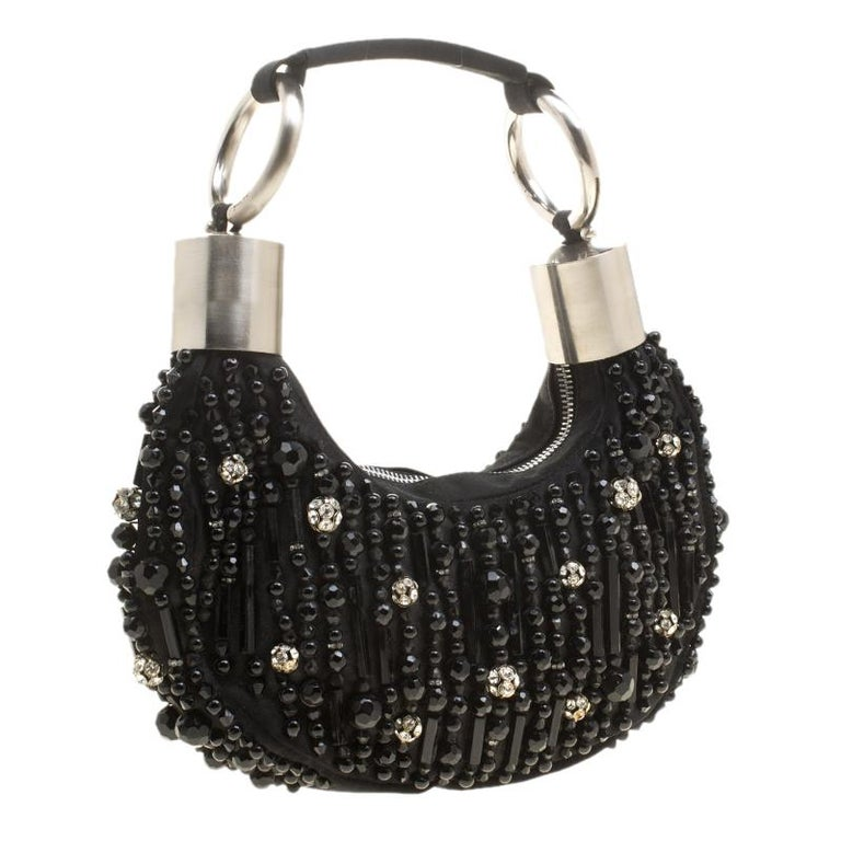 Chloe Black Satin Beads Embellished Hobo For Sale 1