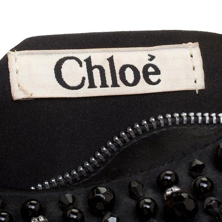 Chloe Black Satin Beads Embellished Hobo For Sale 6