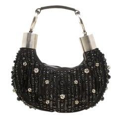 Chloe Black Satin Beads Embellished Hobo