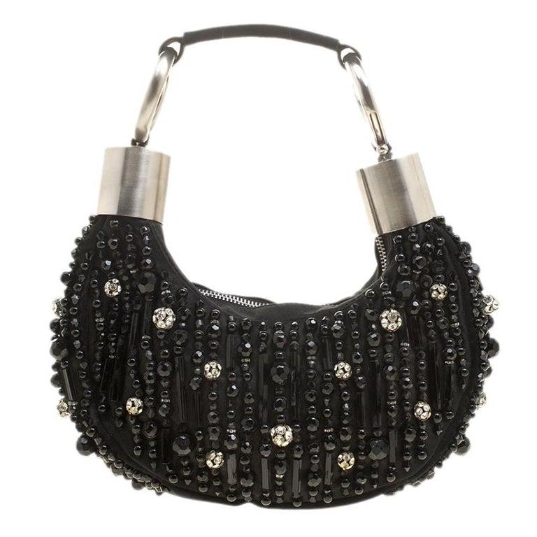 Chloe Black Satin Beads Embellished Hobo For Sale
