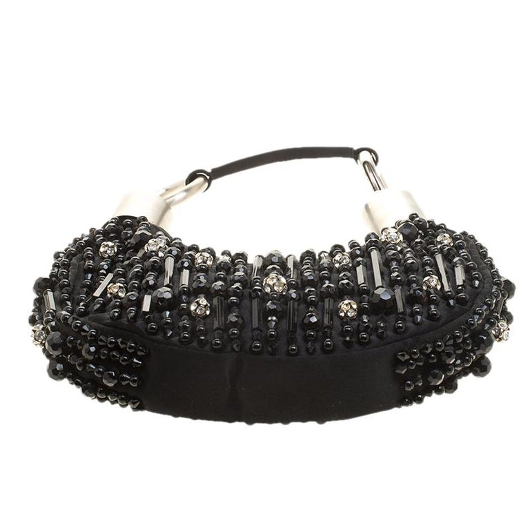 Chloe Black Satin Beads Embellished Hobo For Sale 7
